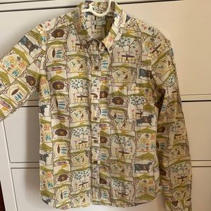 odille button down country fair themed shirt